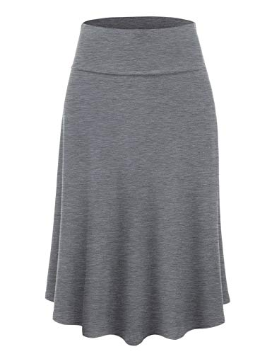 Lock and Love LL WB1105 Womens Lightweight Fold Over Flared Midi Skirt M Heather_Dark_Grey