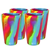 Silipint Silicone Pint Glass Set, Patented, Shatter-proof, Unbreakable Silicone Cup Drinkware (4-Pack, Hippie-Hop)