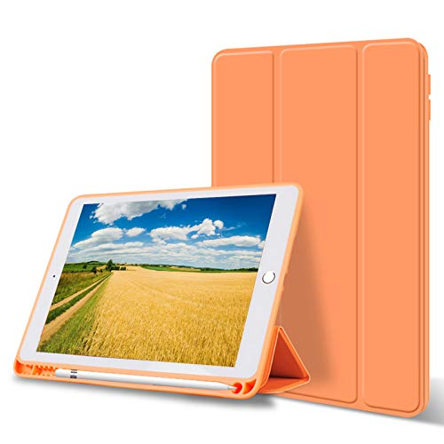 ZOYU iPad 10.2 Case 2019 with Pencil Holder,Slim Lightweight Trifold Stand Smart Shell Soft TPU Back Cover, Auto Sleep/Wake for Apple iPad 10.2 inch 7th Generation A2197,A2198,A2200 (Orange)