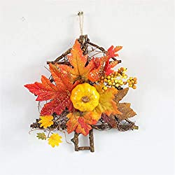 Shan-S Halloween Wreath Decoration Pumpkin Berry Garland Thanksgiving Autumn Window Maple Leaf Wicker Decoration Door Wall Hanging Pendant Home Bar Ornaments