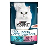 Purina Gourmet Perle Wet Cat Food Mini Fillets in Gravy Ocean Delicacies, 85 g x 24