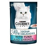 Purina Gourmet Perle Wet Cat Food Mini Fillets in Gravy Ocean Delicacies, 85 g x 24