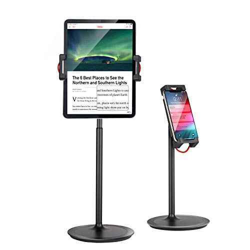 "Tablet Ipad Stand Holder, SAIJI Adjustable Phone Stand, 360 Degree Rotating, Aluminum Alloy Cradle Desktop Holder Dock for 4.7""-12.9"" Screen Phones, iPad, Nintendo Switch, Kindle, eBook Reader (Black)"