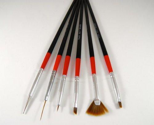 6 x noir Nail Art Peinture Pinceaux Stylos UV faux faux ongles vernis manucure