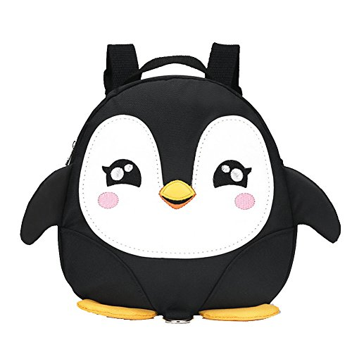 2017 New Cute Style Cartoon Penguin Mini sacs à dos avec bande de sécurité en nylon pour 1-3 ans Little Kid Baby Walk Safety Backpack Boys Little Kid Girls Anti-Loss Black Travel Bag