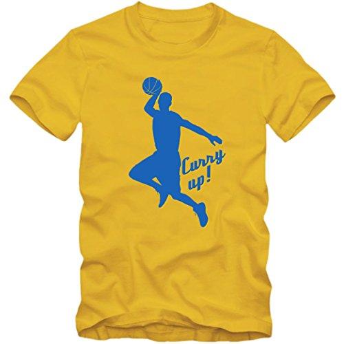 Stephen Curry Up Premium T-Shirt Basketball NBA Hurry Up Kinder Shirt, Farbe:Gelb (Gold L190k);Größe:12 Jahre (142-152 cm)