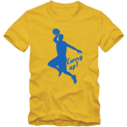 Stephen Curry Up Premium T-Shirt Basketball NBA Hurry Up Kinder Shirt, Farbe:Gelb (Gold L190k);Größe:8 Jahre (118-128 cm)
