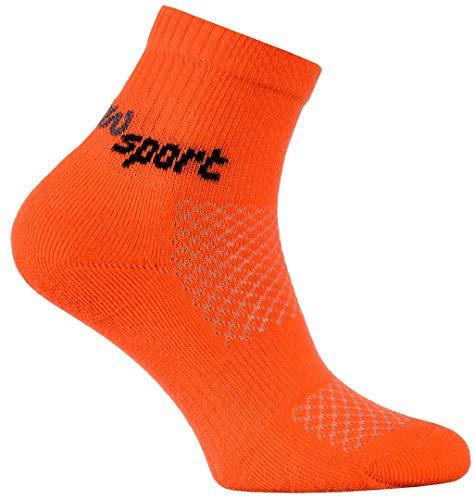 Rainbow Socks - Jungen und Mädchen Neon Sneaker Sportsocken - 1 Paar - Orange - Größen 30-35