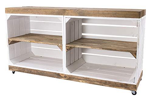 Vintage Möbel 24 GmbH 1x Schicker Fernsehschrank, aus Holz mit 4 Rollen, als Hingucker im Wohnzimmer, neu, 100x30x50cm (Weiß)