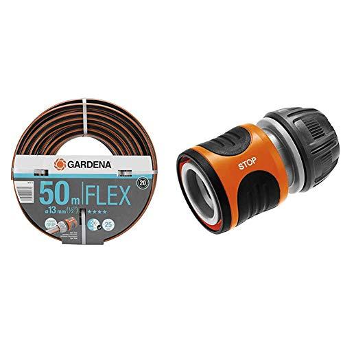 Gardena Comfort FLEX Schlauch 13 mm (1/2 Zoll), 50 m: Formstabiler, flexibler Gartenschlauch mit Power-Grip-Profil & Wasserstop 13 mm (1/2 Zoll) und 15 mm (5/8 Zoll): Steckverbinder mit Aquastop