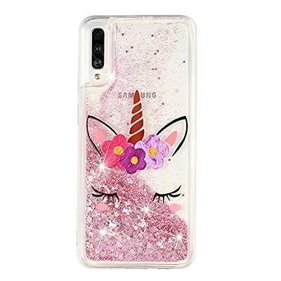 ChoosEU Compatible con Funda Samsung Galaxy A70 2019 Silicona Transparente Dibujos Glitter Brillante Bonita Carcasas Liquido Purpurina Case Antigolpes Bumper Cover Protección Caso - Unicornio