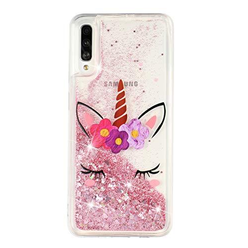 ChoosEU Kompatibel mit Hülle Samsung Galaxy A50 2019 / A30S Silikon Glitzer Transparent Muster 3D TPU Handyhülle Durchsichtig Glitter Dünn Schutzhülle Bumper Stoßfest Slim Hülle Soft Cover - Einhorn