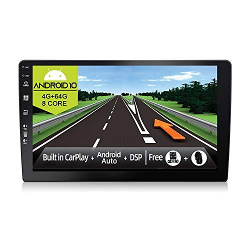 JOYX Android 10 Autoradio - [4G+64G] - Built-in DSP Carplay Android Auto - 4LED Camera Canbus Microfono GRATUITI - 2 Din - Supporto Bluetooth5.0 DAB Volante 4G WiFi 360-Camera 4K-Video - 9 Pollici