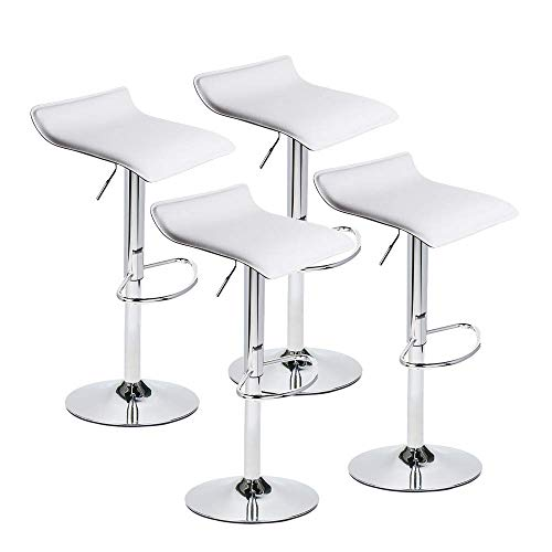 Set of 4 Adjustable Swivel Barstools, PU Leather with Chrome Base, Gaslift Pub Counter Chairs ,White