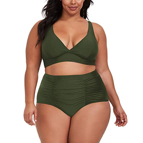 Kisscynest Women's Plus Size High Waist Ruched Swimsuit Swimwear Bathing Suit Army Green 3XL