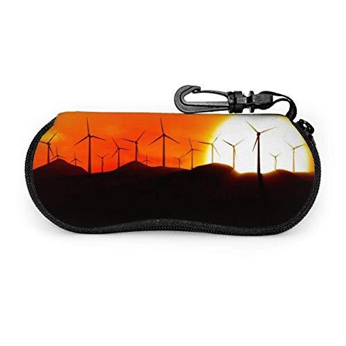 Ahdyr Aerogeneradores al amanecer Gafas de sol con hebilla de bloqueo Bolsa suave Tela de buceo ultraligera Estuche para gafas con cremallera