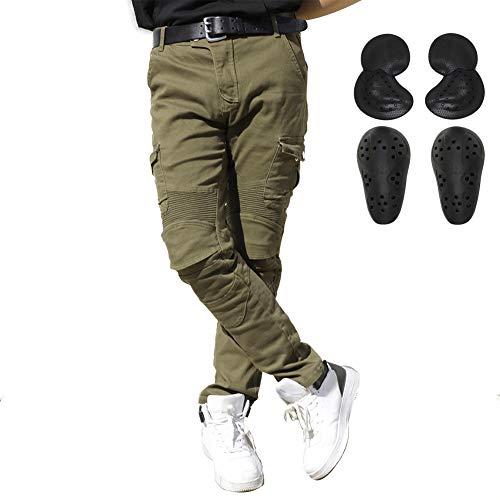 ALPHA RIDER Jeans da moto uomo con protezioni Pantaloni da ciclismo Verde militare L