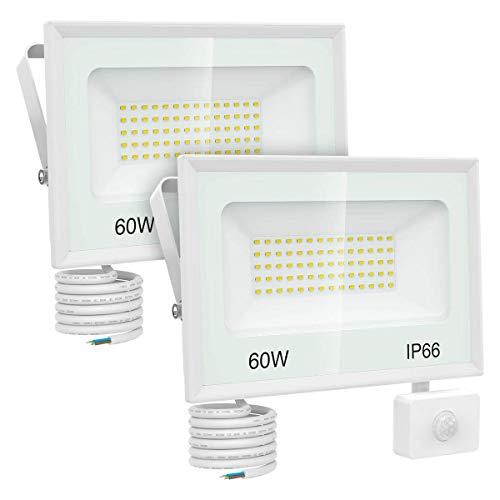 Olafus 2er 60W LED Strahler mit Bewegungsmelder, 6600LM Superhell LED Fluter Scheinwerfer, IP66 Wasserdicht Aussenstrahler, 5000K Flutlicht Außenbeleuchtung für Garten Garage, Hof