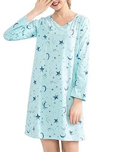 ENJOYNIGHT Camisón de noche para mujer, manga larga, algodón, camiseta estampada, cuello redondo, ropa de noche, star, M