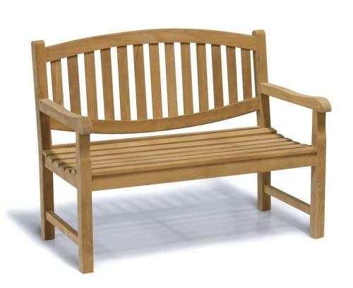 Teako Design Gartenbank Bergamo Teak Massivholz Breite 120 cm Bank Holzbank Terrassenbank