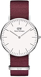 Daniel Wellington DW00600272 Fabric-Band White-Dial Round Analog Unisex Watch - Maroon