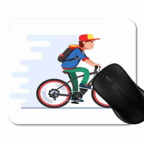 Mauspad Jugendlicher-Junge, der schnelles elektrisches Fahrrad reitet Rutschfeste Gummi Basis Mouse pad, Gaming und Office mauspad für Laptop, Computer PC 1H1497