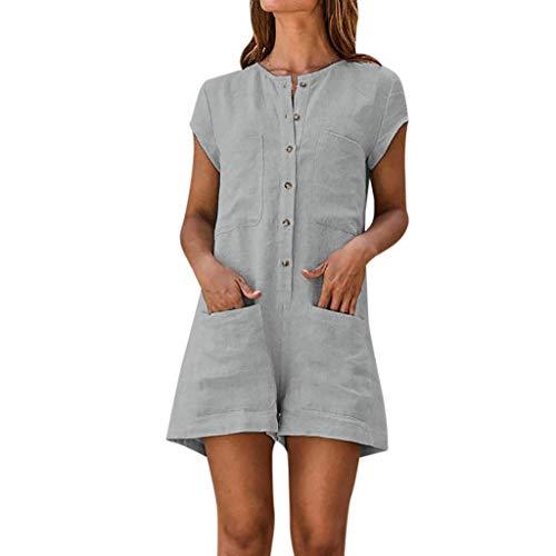 NPRADLA Jumpsuit Jumpsuits Damen V Ausschnitt Einfarbig Romper Short Sleeve Lässige Pocket Button