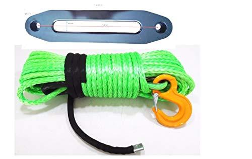WFBD-CN Adecuado para remolques Cable de Cables sintético Verde de 12 mm * 30m con 10'ATV Hawse Fairlead, Cuerda de cabrestante sintético, Cuerda de Plasma, Cuerda de Carretera