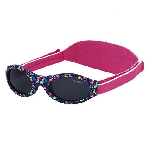 Kiddus Gafas de sol PREMIUM POLARIZADAS para bebé. 0meses a 2años. UV400 100% protección rayos UVA y UVB. Suave puente de SILICONA para la nariz. Banda ajustable de NEOPRENO (16 Flamingo)
