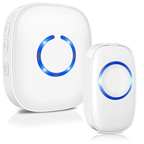 Drahtlose Funkklingel Set, ELEPOWSTAR IP55 Wasserdicht Kabellose Türklingel, Wireless Doorbell, Tür Klingel für Haus/Büro/Garten (1 Sender & 1 Empfänger weiß)