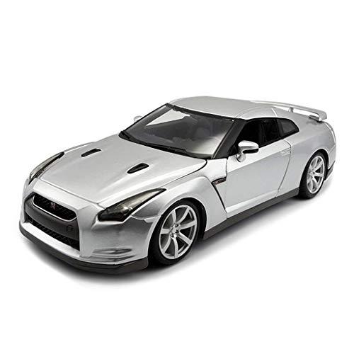YNHNI Modelo de coche, juguetes de coche para niños y niñas escala 1/18 Nissan GT-R modelo de aleación de coche fundido en miniatura, regalos para interiores y exteriores (color plateado)