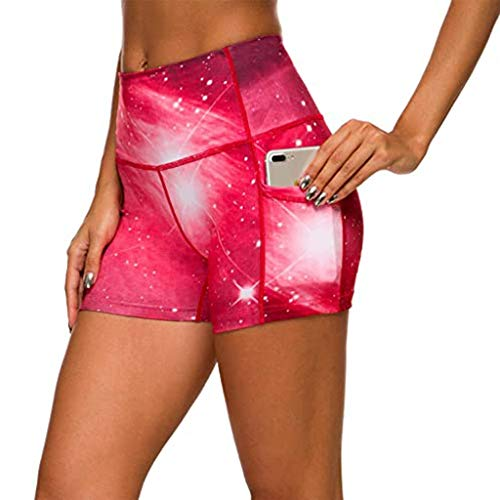 Shinehua korte legging voor dames, yogabroek, sportbroek, tights hardloopbroek, high waist met zakken, rekbaar, joggingbroek, yoga, sport, fitness, hardlopen, shorts