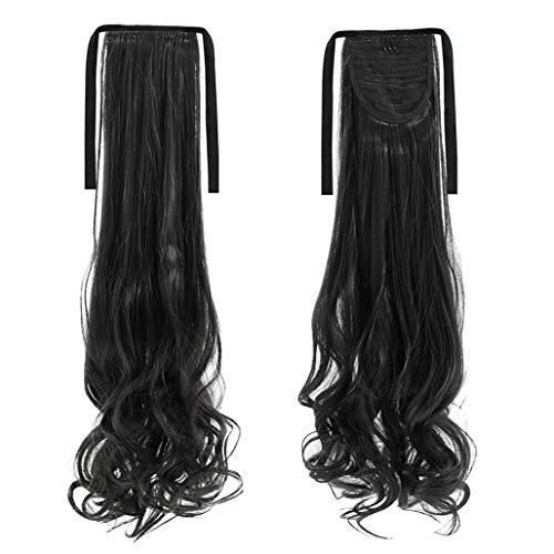 Tendance S08 Extensions de cheveux longs et lisses et épais pour queue de cheval avec ruban à clipser