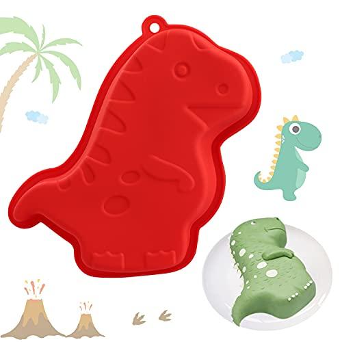 YISUYA Dinosaurier Kuchenform, 3D Dinosaurier Backform, Neuheit Kuchenform, Antihaft Dinosaurier Kuchenform zum Backen, DIY Geburtstags Kuchenform, Silikon Dinosaurier für Kuchen, Pudding, Gelee(Rot)