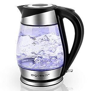 Aigostar Chubby 30LCZ - Hervidor de Agua Rápido de Cristal | Hervidores Eléctrico 1,7l con Iluminación Led | 2200w | Libre de BPA