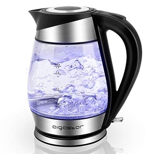Aigostar Chubby 30LCZ - Hervidor de Agua Rapido de Cristal | Hervidores Electrico 1,7l con Iluminacion Led | 2200w | Libre de BPA