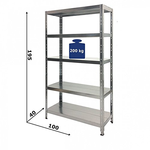 Grima 100x40x195h cm 5 shelves 260KG EasyClip - Boltless