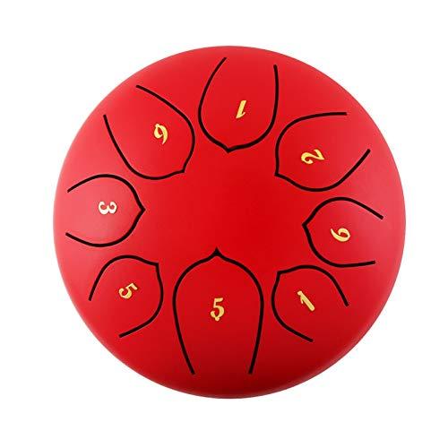 CMAO Zungentrommel aus Stahl, 6-Zoll-Lotus-Tamburin-Schlaginstrument mit 8 Noten und Handgepäcktasche für Trommelstöcke, geeignet für musiktherapeutische Leistungen,Rot