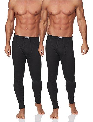 Timone Lot de 2 Caleçons Longs Thermiques Pantalons sous-vêtements Homme TISS001 (Noir, L)