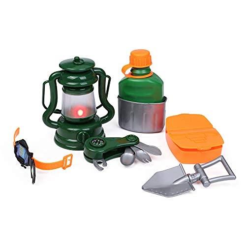 7 piezas niños simulan jugar juguetes camping herramientas preescolares juguetes para niños pequeños Campfire linterna botella agua taza juguetes para..