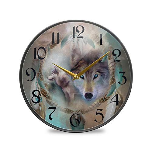 ART VVIES Reloj de Pared Redondo de 12 Pulgadas Sin tictac Silencioso Funciona con Pilas Oficina Cocina Dormitorio Decoraciones para el hogar-Wolf Dreams of Peace Carol Cavalaris