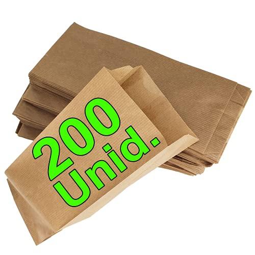 Loxato 200 Bolsas papel kraft marrón - Bolsas de regalos - Bolsas de papel para bocadillos - Bolsas de papel sin asas - Bolsa para llevar desayuno - Bolsas kraft - Bolsas craft papel - 10x5.5x25cm