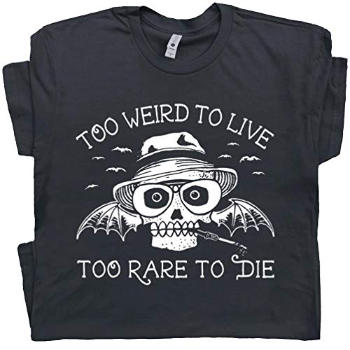 L - Hunter S Thompson T Shirt Fear and Loathing in Las Vegas Tee Too Weird to Live Rare to Die Vintage Black