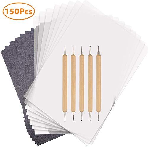 150 Blatt Carbon Transferpapier Copy Paper Carbonhaltige Durchschreibepapiere Schwarzem Pauspapier mit 5 PCS Embossing Stylus für das Aufspüren von Holz