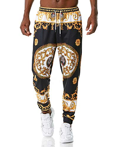 PIZOFF Herren Hip Hop Golden Jogginghose mit 3D Barocco Druck IM Palace BAROCCO Acanthus Mosaic-Print S Bunt-07