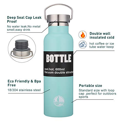 KINGSO Flask Double Wall Vacuum Insulated Stainless Steel Sports Water Bottle 20 oz Leak & Sweat Proof Standard Mouth with BPA Free Screw Cap for Hot or Cold Beverages,Mint,600ML