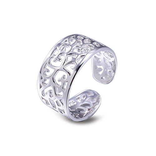 Anello argento per donna Anello da piede Regolabili anello di punta vintage Hollow Anelli per spiaggia regalo di san valentino VIKI LYNN