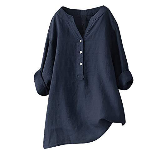 SHE.White Damen Einfarbig Große Größe Bluse Sommer V-Ausschnitt Knöpfen Lange Ärmel Lang Oberteile T-Shirt Frauen Stehkragen Loose Beiläufige Shirt S-5XL