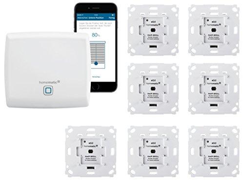 Homematic IP Rolladensteuerung für 7 Rolladen. Smart Home Set mit App zur Automatisierung der Rollläden. Ideal zur Nachrüstung. Alexa kompatibel. Inhalt: Zentrale, 7 Funk Rollladenaktoren, Adapter.