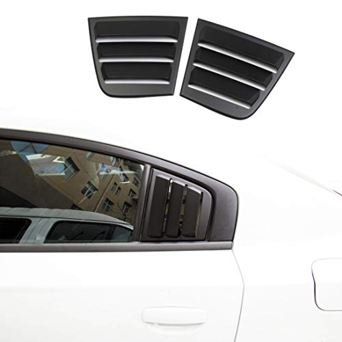crosselec Side Window Louvers Air Vent Scoop Shades Cover Blinds ABS for Dodge Charger 2011-2021 (Black)